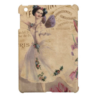 Vintage Ballerina on Ephemera background iPad Mini Covers