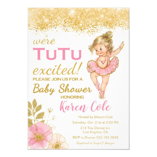 Vintage Ballerina TuTu Girl Baby Shower Invitation