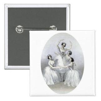 Vintage Ballerinas 2 Inch Square Button