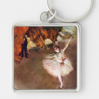 Vintage Ballet Art, Prima Ballerina by Edgar Degas Silver-Colored Square Keychain