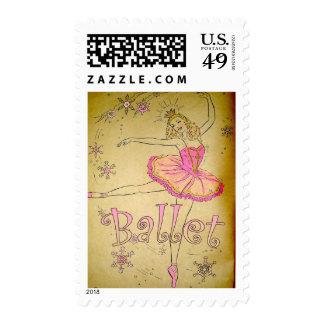 Vintage Ballet Postage Stamp
