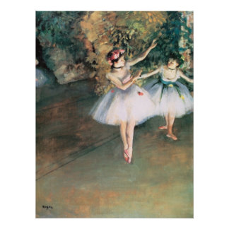 Vintage Ballet, Two Dancers on a Stage by Degas Poster