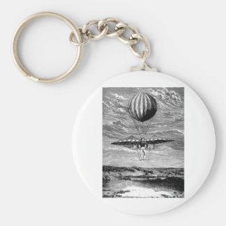 Vintage Balloon Balloonist with Parachute Basic Round Button Keychain