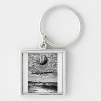 Vintage Balloon Balloonist with Parachute Silver-Colored Square Keychain
