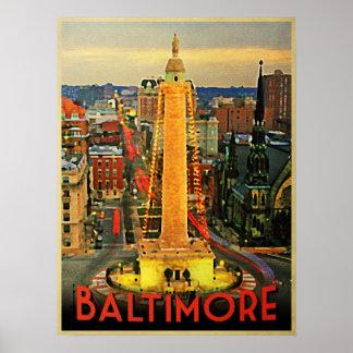 Vintage Baltimore At Dusk Print