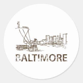 Vintage Baltimore Classic Round Sticker