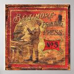 Vintage Baltimore rail press letterpress print