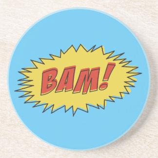 Vintage Bam! Comic Sound Effect Sandstone Coaster