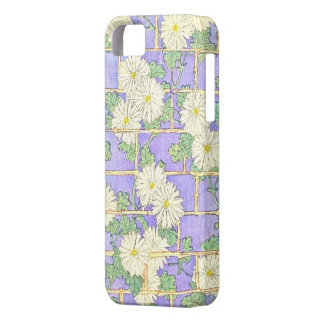 Vintage Bamboo Brick-Play & Daisies On Violet iPhone SE/5/5s Case