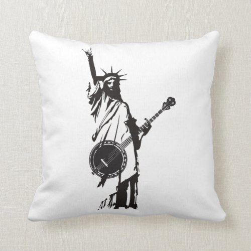 Vintage Banjo Bluegrass Playing Patriotic American Throw Pillow