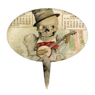 Vintage Banjo Playing Skeleton Cake Topper