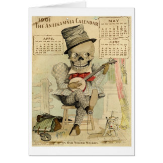 Vintage Banjo Playing Skeleton Card