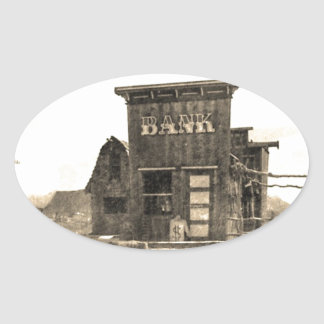 Vintage Bank Building Oval Sticker