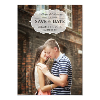 """Vintage Banner Save The Date Invitations 4.5"""" X 6.25"""" Invitation Card"""