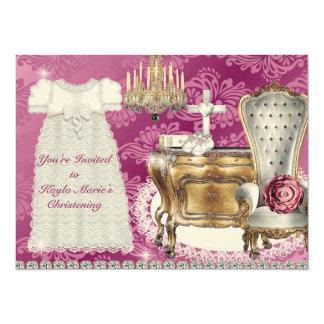 Vintage BAPTISM Invitation PINK DAMASK DESIGN