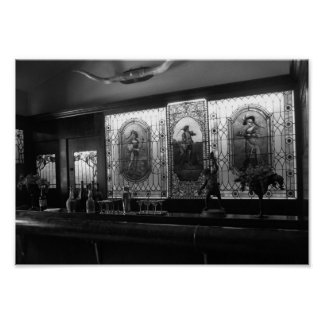 Vintage Bar Room Black And White Photograph Poster