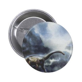 Vintage Barapasaurus Dinosaur with Storm Clouds Button