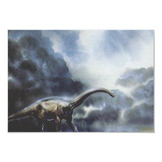 Vintage Barapasaurus Dinosaur with Storm Clouds Card