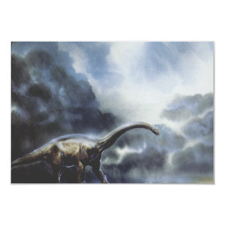 Vintage Barapasaurus Dinosaur with Storm Clouds Custom Invite