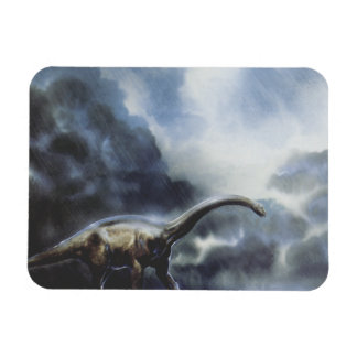 Vintage Barapasaurus Dinosaur with Storm Clouds Rectangle Magnets