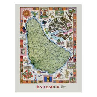 Vintage Barbado Travel Maps Postcard