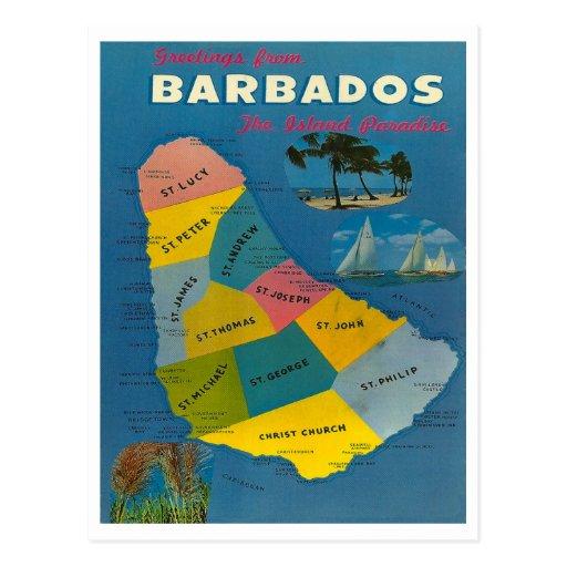 Vintage Barbados Map Post Cards