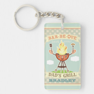 Vintage Barbeque BBQ Dad Father's Day Keychain