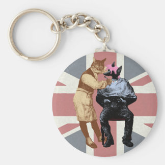 Vintage Barber Cat and Dog Basic Round Button Keychain