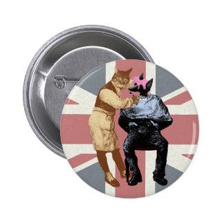 Vintage Barber Cat and Dog Pinback Button
