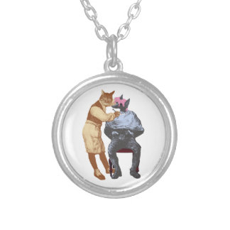 Vintage Barber Cat and Dog Silver Plated Necklace