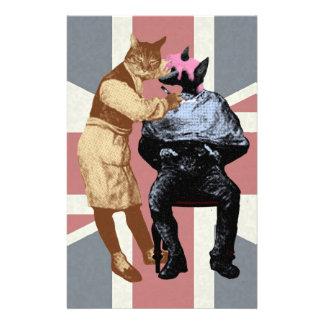 Vintage Barber Cat and Dog Stationery Paper