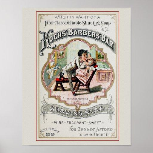 Vintage Barber Shop Advertisement Print