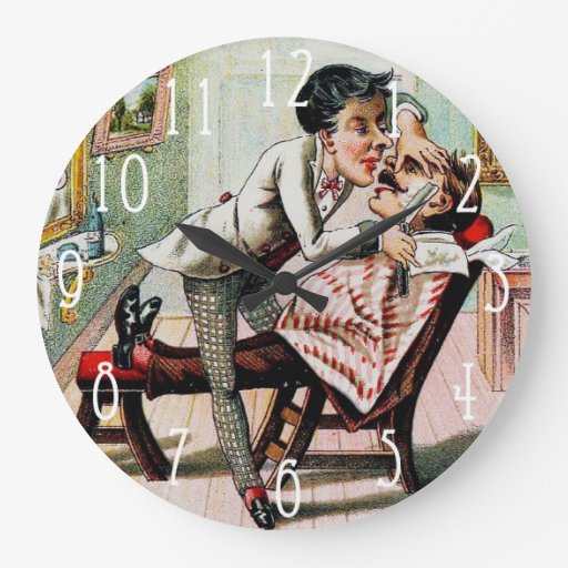 Vintage Barber Shop Shaving Wall Clocks