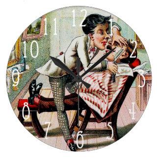 Vintage Barber Shop Shaving Large Clock