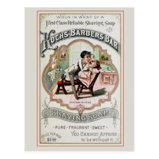 Vintage Barber Shop Shaving Postcard