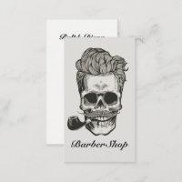 Vintage Barber Shop Skull Scissors Business Card