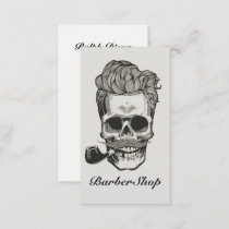 Vintage Barber Shop Skull Scissors Business Card
