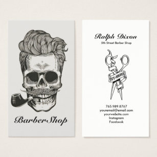 Barber shop business cards templates zazzle vintage barber shop skull scissors business card wajeb Image collections