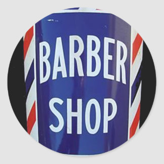 Vintage barbershop sign classic round sticker