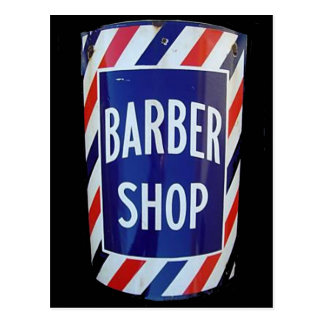 Vintage barbershop sign postcard