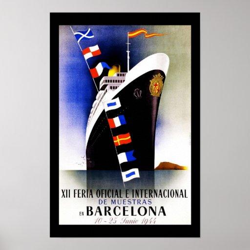 Vintage Barcelona España del poster del viaje