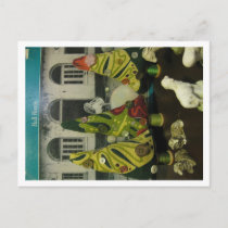 Vintage Barkcloth and chalkware sheep Postcard