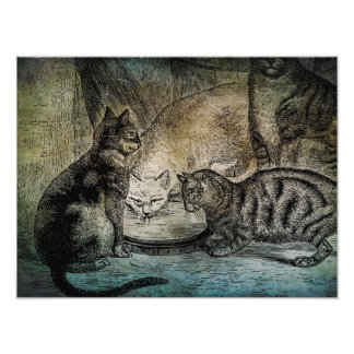 Vintage Barn Cats Personalized Cat Illustration Photo Art
