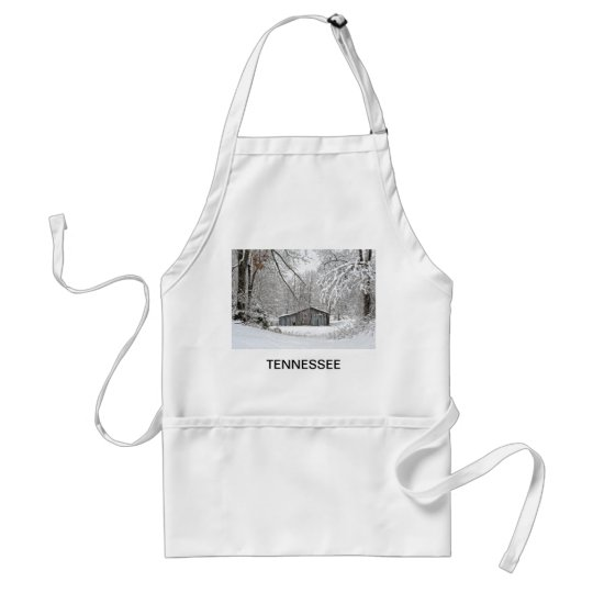 Vintage Barn in Fresh Snow - Rural Tennessee Adult Apron