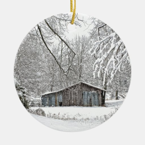Vintage Barn in Fresh Snow - Rural Tennessee Double-Sided Ceramic Round Christmas Ornament