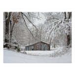 Vintage Barn in Fresh Snow - Rural Tennessee Poster