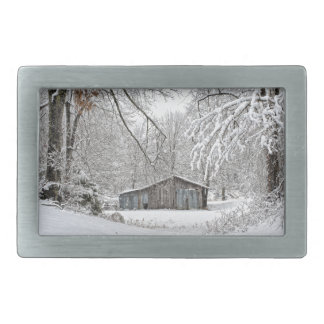 Vintage Barn in Fresh Snow - Rural Tennessee Rectangular Belt Buckle