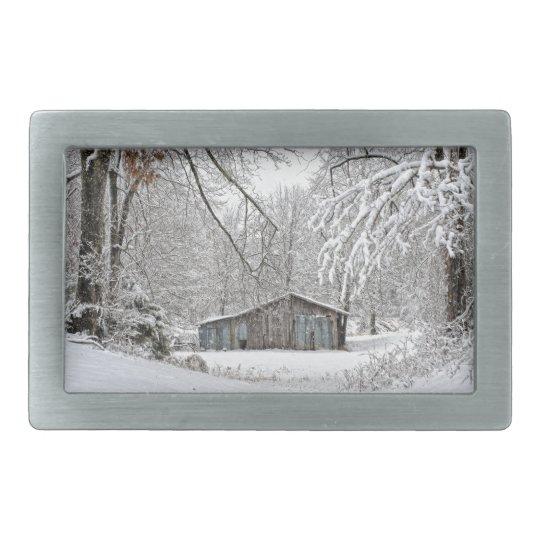 Vintage Barn in Fresh Snow - Rural Tennessee Rectangular Belt Buckle