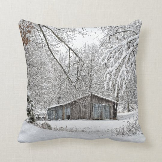 Vintage Barn in Fresh Snow - Rural Tennessee Throw Pillow