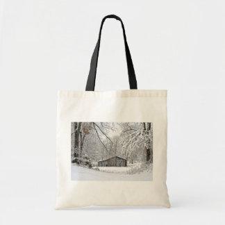 Vintage Barn in Fresh Snow - Rural Tennessee Tote Bag